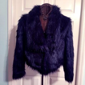 DECREE Faux Fur Long Sleeve Coat - Jacket - Large